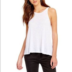 Free People High Neck white ribbed Long Beach tank